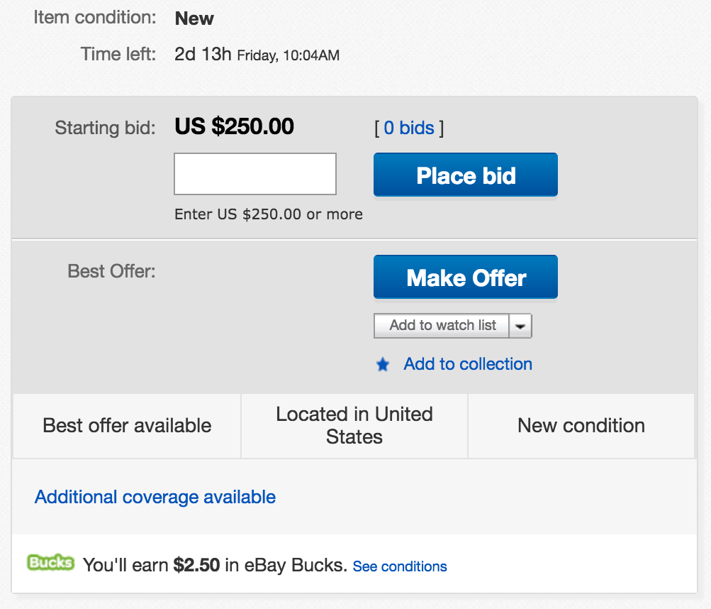Ebay Auction Style Listing With Best Offer